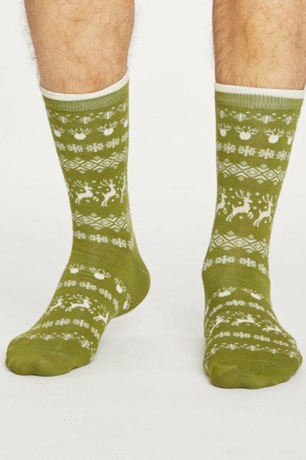 Thought pánské bambusové ponožky reindeer zelené