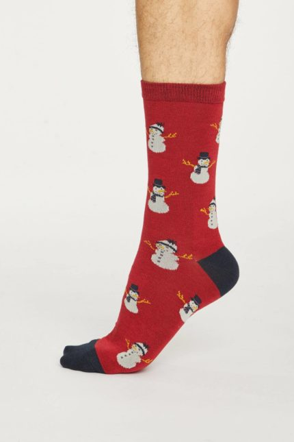 Thought pánské bambusové ponožky snowman červené
