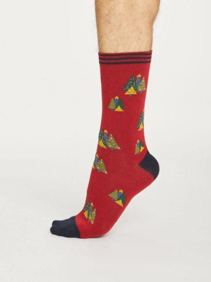 Thought pánské bambusové ponožky christmas tree červené