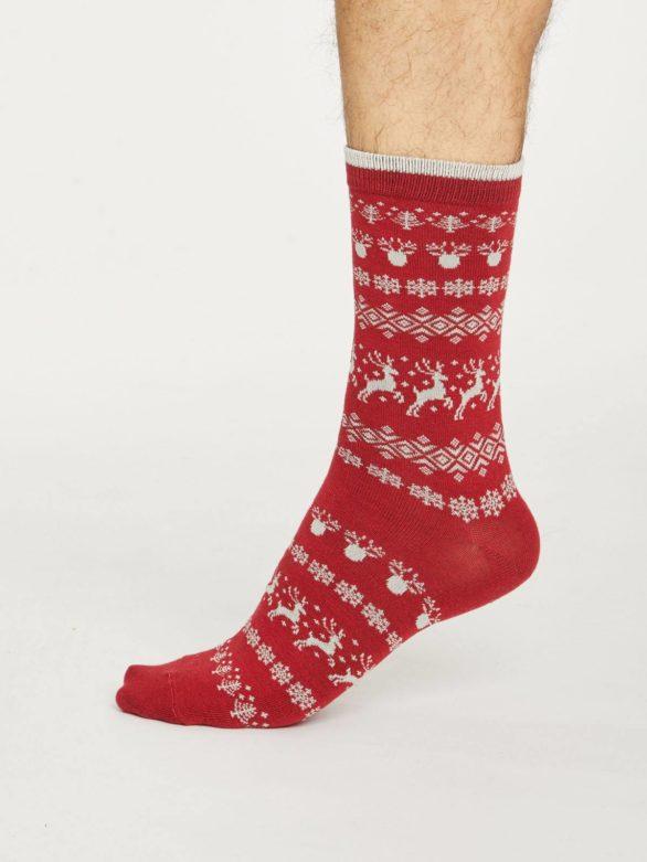 Thought pánské bambusové ponožky reindeer červené