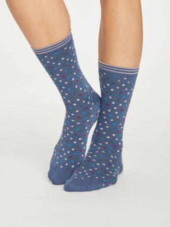Thought dámské bambusové ponožky dotty modré