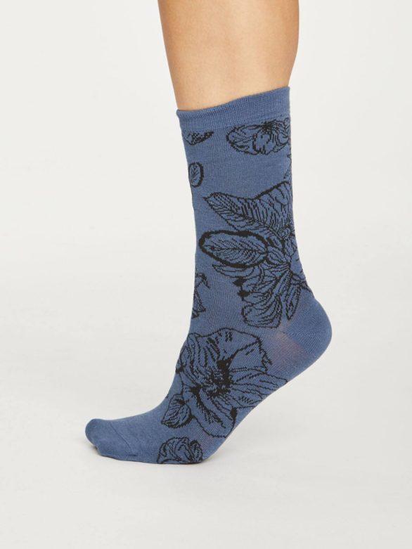 Thought dámské bambusové ponožky sketchy floral modré