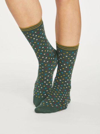Thought dámské bambusové ponožky dotty zelené