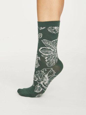 Thought dámské bambusové ponožky sketchy floral zelené