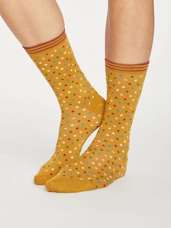 Thought dámské bambusové ponožky dotty žluté