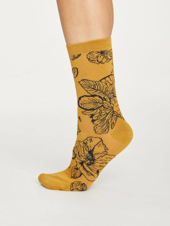 Thought dámské bambusové ponožky sketchy floral žluté