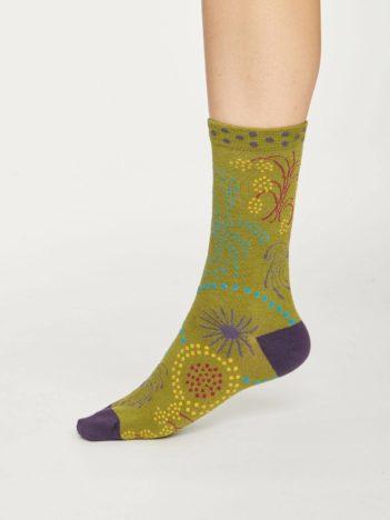 Thought dámské bambusové ponožky firework zelené