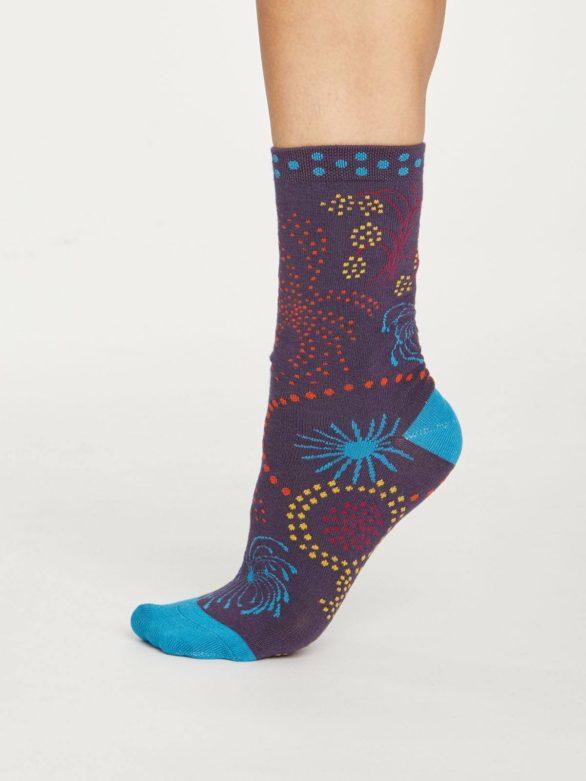 Thought dámské bambusové ponožky firework fialové