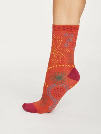 Thought dámské bambusové ponožky firework cihlové