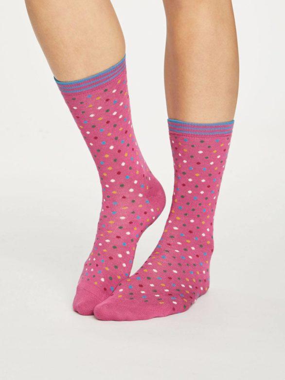Thought dámské bambusové ponožky dotty růžové