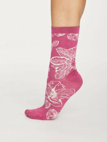Thought dámské bambusové ponožky sketchy floral růžové