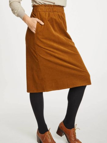 Thought manšestrová sukně lisket hnědá