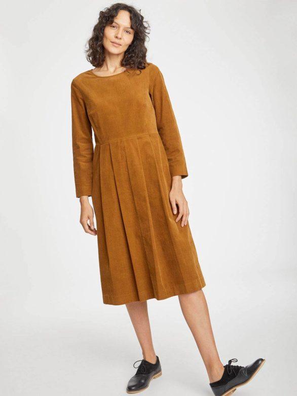 Thought manšestrové šaty lisket hnědé