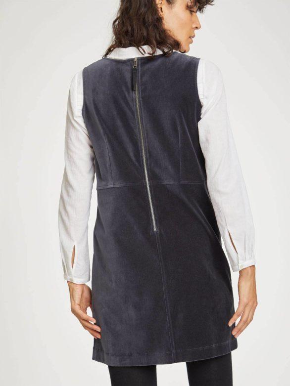 Thought sametové šaty zillah z bio bavlny šedé