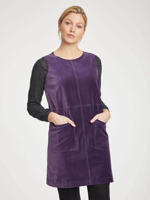 Thought sametové šaty zillah z bio bavlny fialová