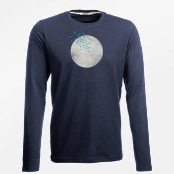 Greenbomb  tričko s dlouhým rukávem nature birds moon
