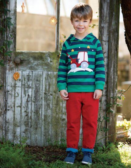 Frugi  manšestrové kalhoty callum červené