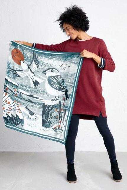 Seasalt Cornwall  modalový šátek scenic snow buntings