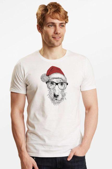 Greenbomb tričko dog christmas bílé