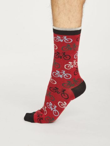 Thought pánské bambusové ponožky cycler červené