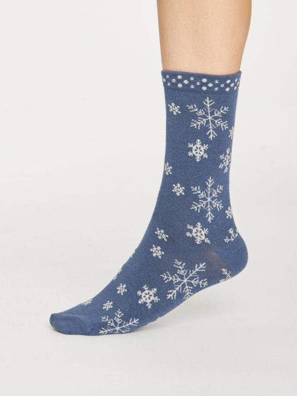 Thought dámské bambusové ponožky snowflake modré