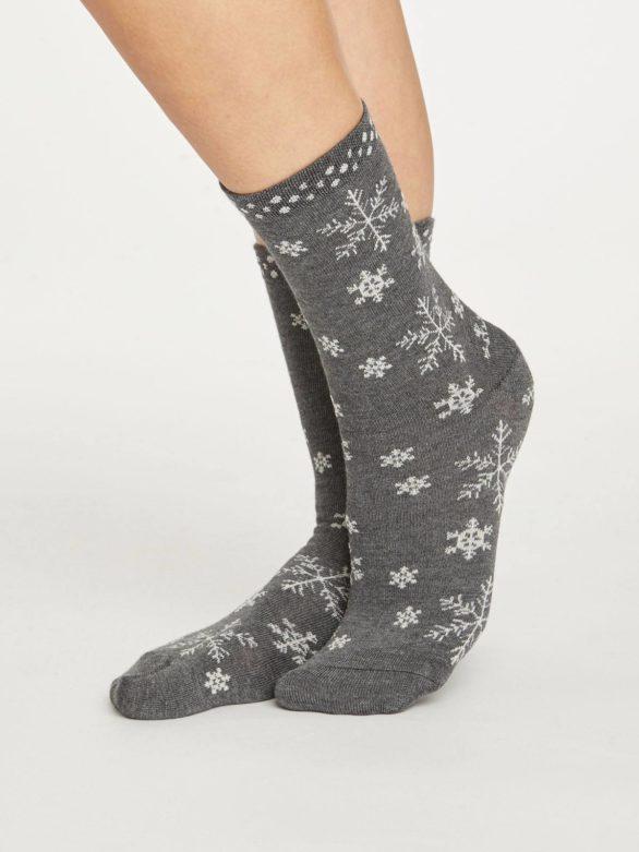 Thought dámské bambusové ponožky snowflake šedé