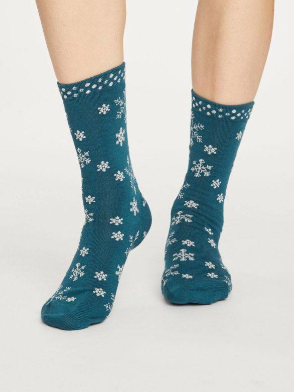 Thought dámské bambusové ponožky snowflake zelené