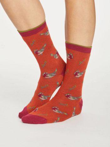 Thought dámské bambusové ponožky british birds zelené