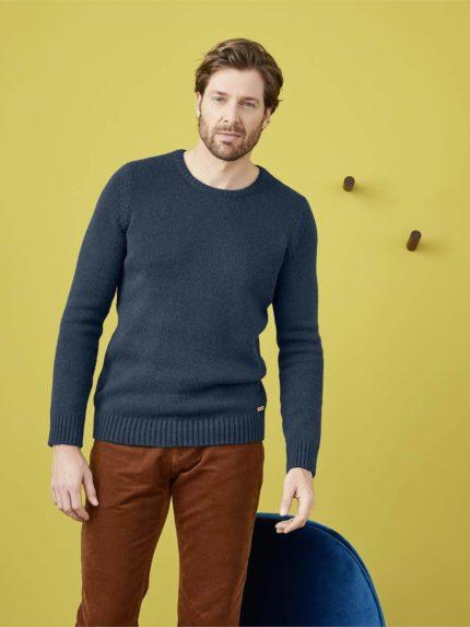 Living Crafts svetr z bio bavlny a vlny hannes modrošedý
