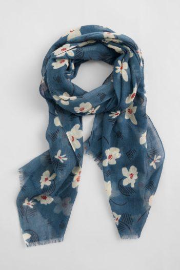 Seasalt Cornwall vlněný šál s hedvábím pretty floral