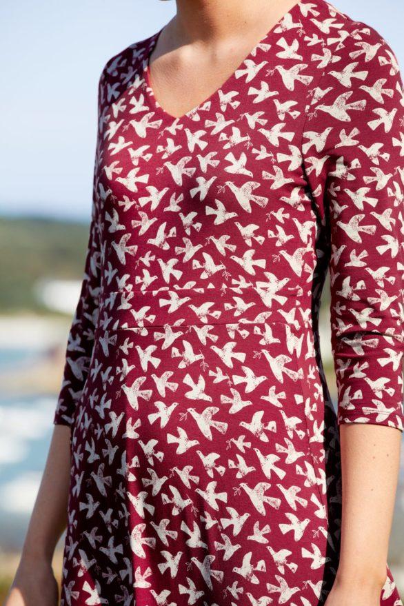 Seasalt Cornwall bambusové šaty tempera birds