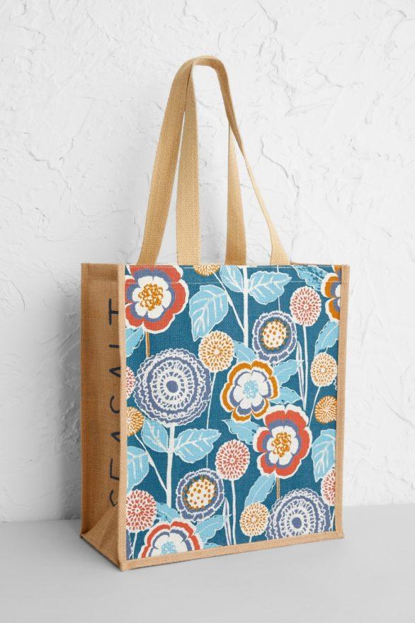 Seasalt Cornwall jutová nákupní taška garden dark