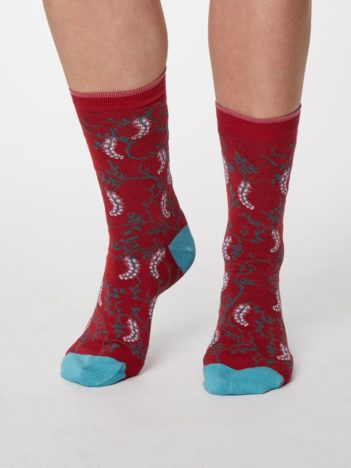 Thought dámské bambusové ponožky floreale tm. modré