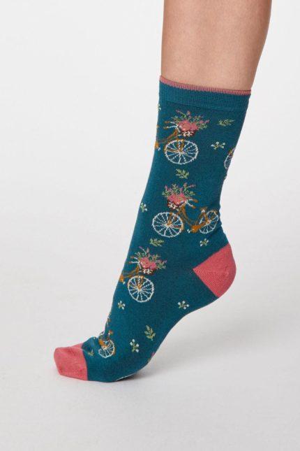 Thought dámské bambusové ponožky bicicletta tm. modré