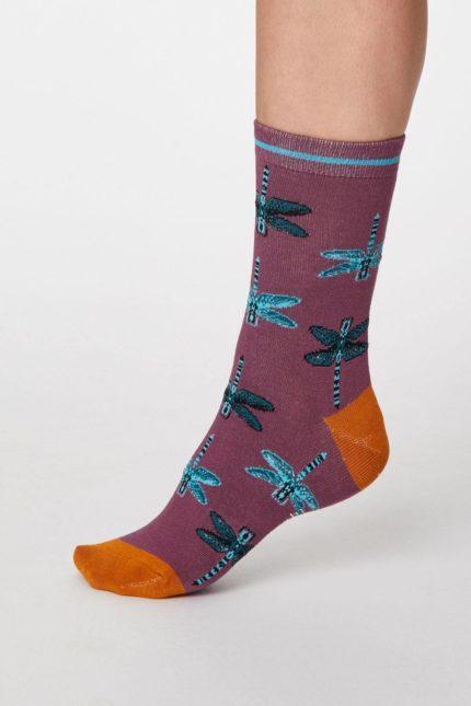 Thought dámské bambusové ponožky insetto fialové