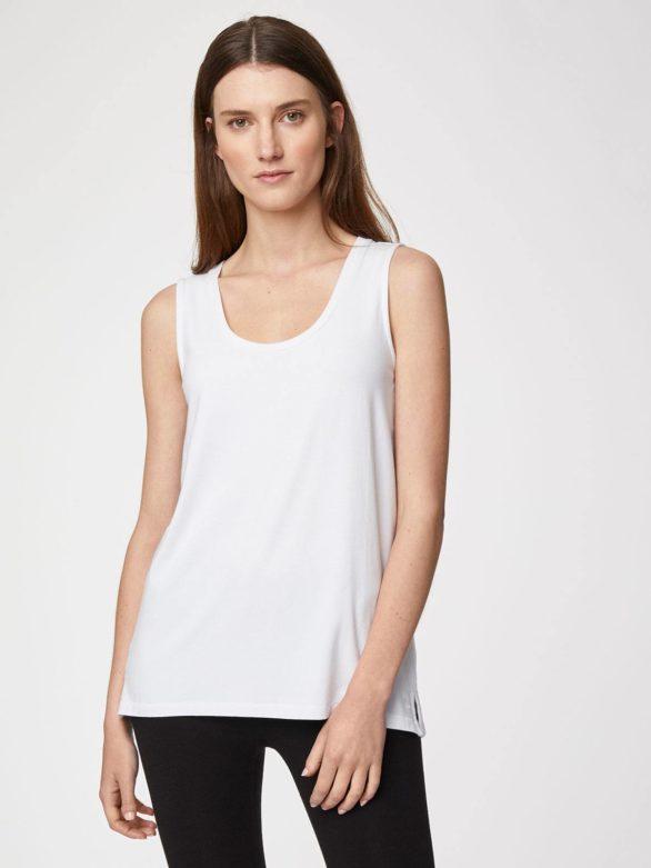 Thought bambusové tričko bez rukávů bílé