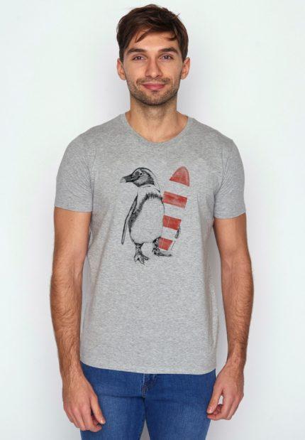 Greenbomb tričko z bio bavlny penguin surfer šedé