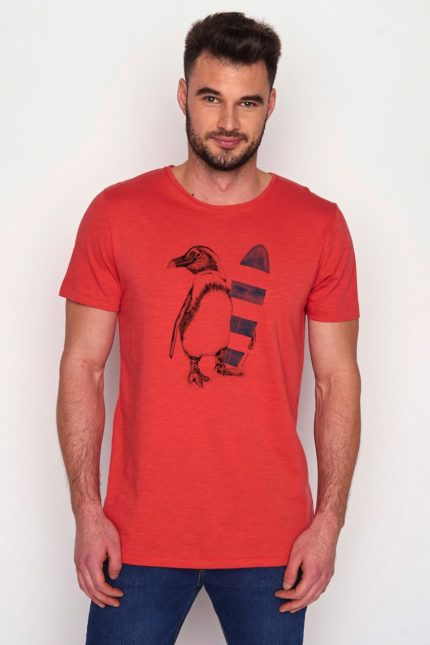 Greenbomb tričko z bio bavlny penguin surfer červené