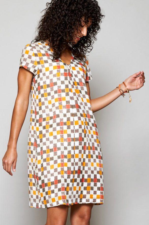 Nomads tunikové šaty colour block hnědé