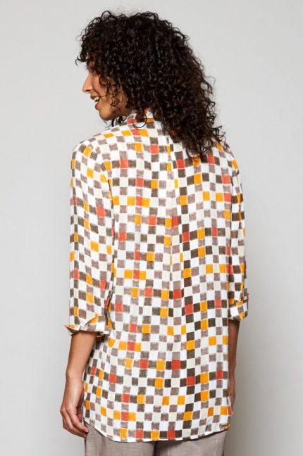 Nomads tuniková košile colour block hnědá