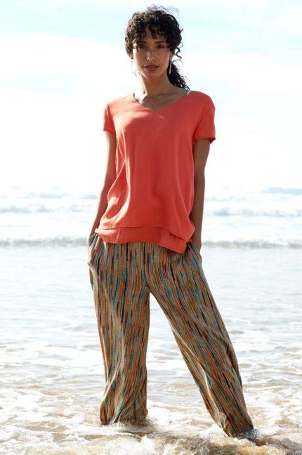 Nomads Široké kalhoty stripe oranžové