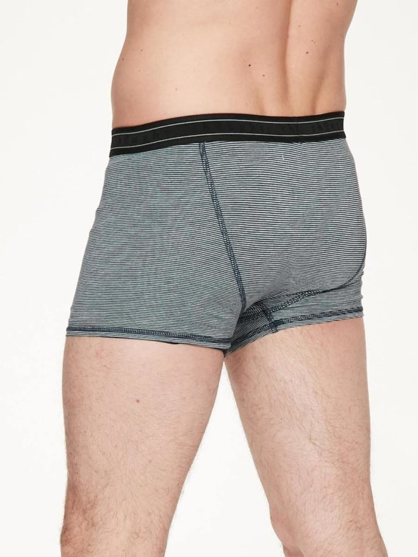 Thought mac pewter grey michael men s stripe bamboo boxer in pewter soft jersey