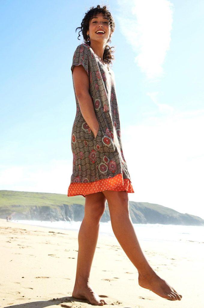 Nomads tunikové šaty zanzibar hnědé