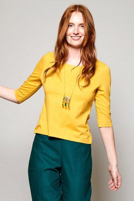 Nomads top s polodlouhým rukávem z bio bavlny žlutý