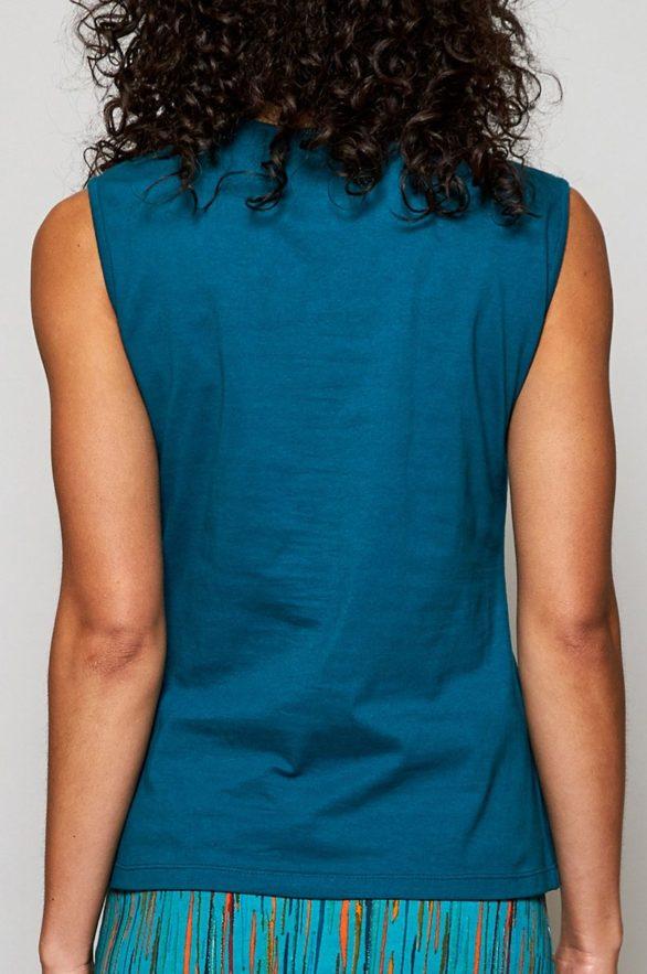 Nomads top crochet z bio bavlny modrý