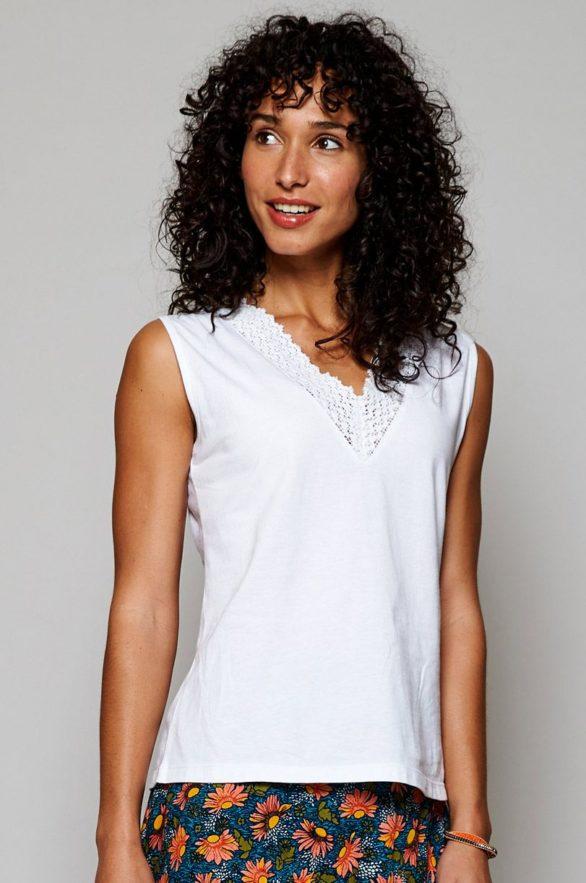 Nomads top crochet z bio bavlny bílý