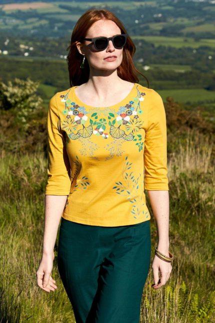 Nomads top botanical z bio bavlny žlutý