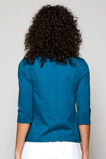 Nomads top botanical z bio bavlny modrý
