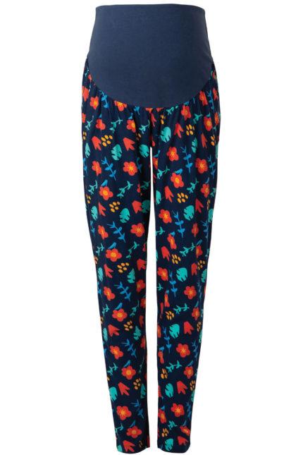 Frugi těhotenské kalhoty floral modré