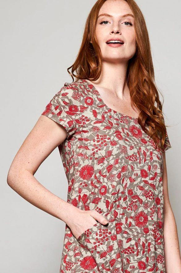 Nomads tunikové šaty tresco z bio bavlny červené